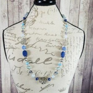 Silver toned, multi-tone blue beaded necklace